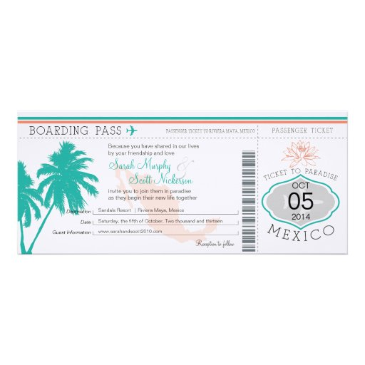 Wedding Boarding Pass to Mexico Personalized Invitations