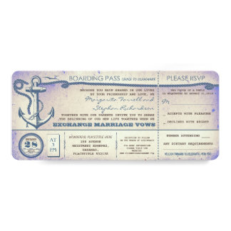 "wedding boarding pass-vintage tickets with RSVP 4"" X 9.25"" Invitation Card"