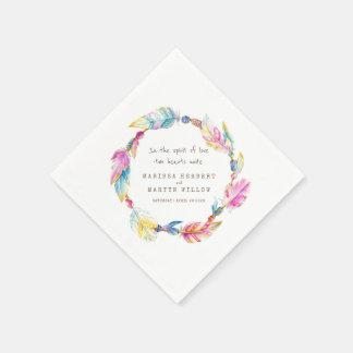 Wedding bohemian feather and beads colorfu napkins