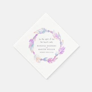 Wedding bohemian feather and beads purple napkins