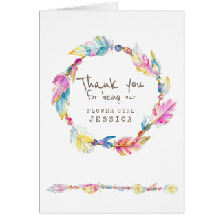 Wedding boho flower girl thank you card