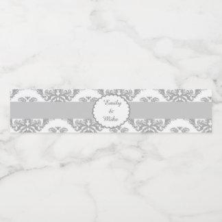 Wedding Bottle Label Silver Grey Damask