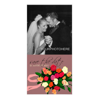 Wedding Bouquet Photo Save the Date Cards Custom Photo Card