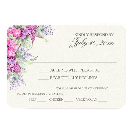 Wedding Bouquet Watercolor RSVP Card