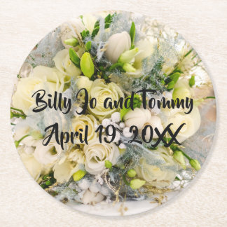 Wedding Bouquet Yellow White Peach Roses Round Paper Coaster