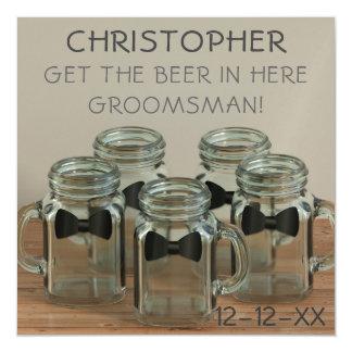 Wedding Bow Tie Mason Jars Funny Groomsman Request Magnetic Card