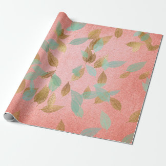 Wedding Bridal Coral Gold Falling Leafs Mint Wrapping Paper