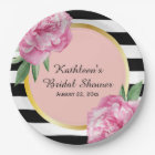 Wedding Bridal Shower Black Stripes Floral Glam Paper Plate
