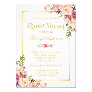 """Wedding Bridal Shower Chic Floral Golden Frame 5"""" X 7"""" Invitation Card"""