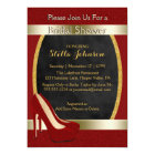 Wedding Bridal Shower | Chic Gold Red High Heels Card
