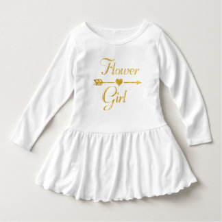 Wedding Bridal Shower Glitter Gold Flower Girl Dress