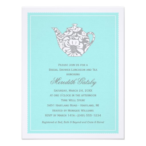 Wedding Bridal Shower Invitation | High Tea Theme Personalized Invitations
