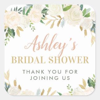 Wedding Bridal Shower | Neutral Blooms Square Sticker