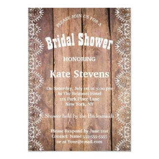 Wedding Bridal Shower Wood Invitation Card