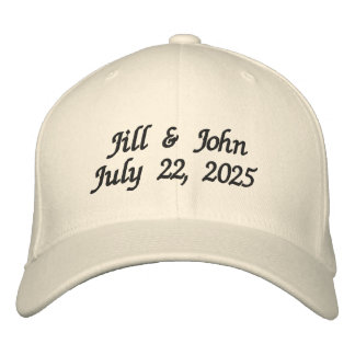 Wedding Bride and Groom Names Date Newlyweds Embroidered Hat