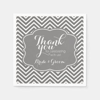 Wedding Bride and Groom Thank You Gray Chevrons Paper Napkin