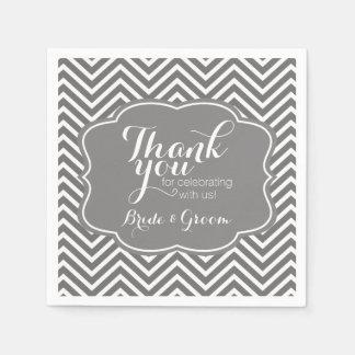 Wedding Bride and Groom Thank You Gray Chevrons Paper Napkins