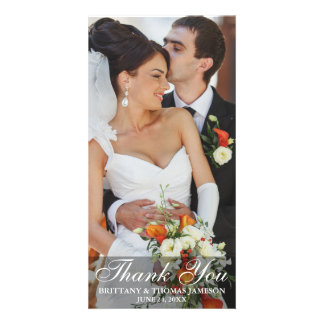 Wedding Bride and Groom Thank You Photo Card LS W