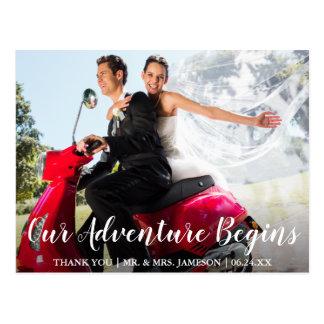 Wedding Bride & Groom Adventure Thank You Postcard