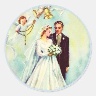Wedding Bride Groom Angel Rosary Bells Classic Round Sticker