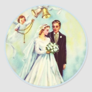Wedding Bride Groom Angel Rosary Bells Round Sticker