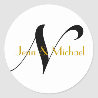 Wedding Bride Groom Names Monogram N Sticker Gold
