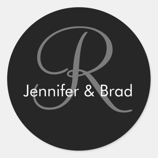 Wedding Bride Groom Names Monogram R Sticker