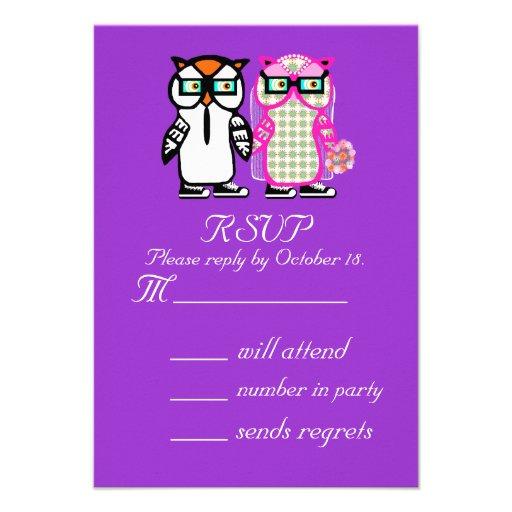 Wedding Bride Groom Owl RSVP Invitation Reply Card