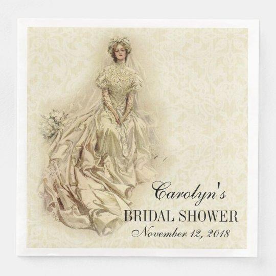 Wedding Bride Shower Vintage Traditional Lace Paper Dinner Napkin