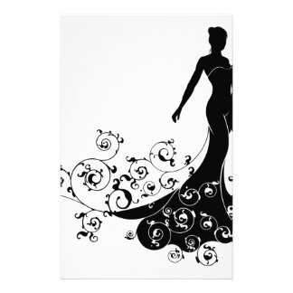 Wedding Bride Silhouette Design Stationery