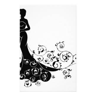 Wedding Bride Silhouette Design Stationery Paper