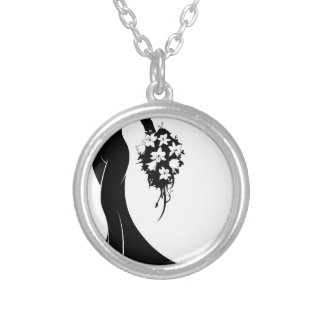Wedding Bride Silhouette Silver Plated Necklace