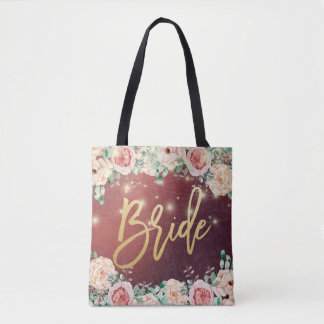 Wedding Brides Burgundy Chic Floral String Lights Tote Bag