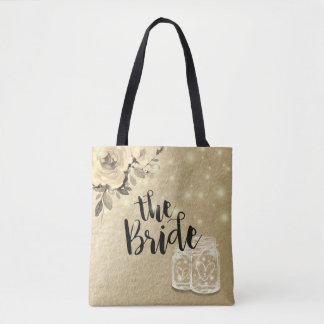 Wedding Brides Floral Mason Jar String Lights Gold Tote Bag