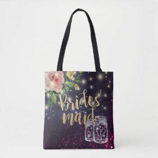 Wedding Bridesmaid Floral Purple Mason Jar Lights Tote Bag