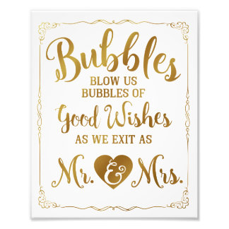 Wedding bubble sign wedding poster, gold wedding