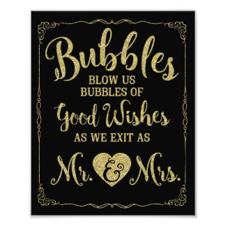 Wedding bubble sign wedding poster, gold wedding photo print