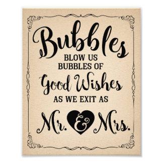 Wedding bubble sign wedding poster photo art