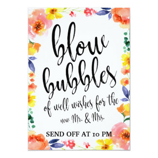 Wedding Bubbles Send Off Floral Affordable Sign Card
