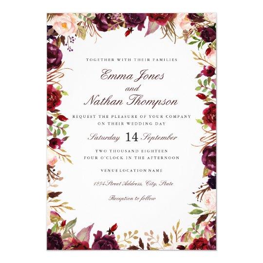 Wedding Burgundy Blush Floral Watercolor Card