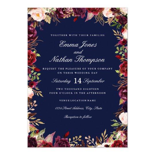 Wedding Burgundy Navy Floral Watercolor Card