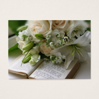 Wedding business card with bouquet