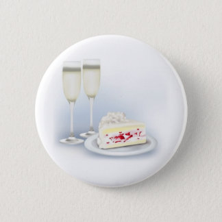 Wedding-Cake and Champagne 2 Inch Round Button