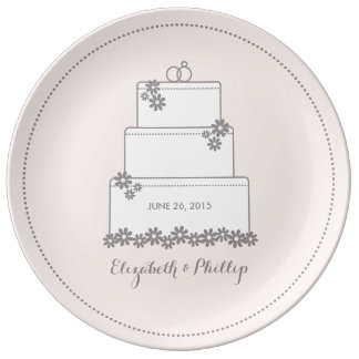 Wedding Cake Decorative Gift Plate - Pink