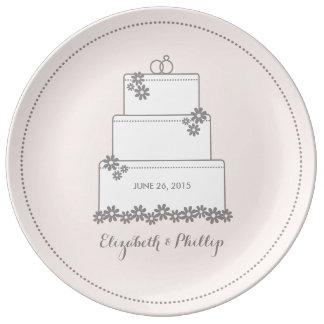 Wedding Cake Decorative Gift Plate - Pink Porcelain Plate