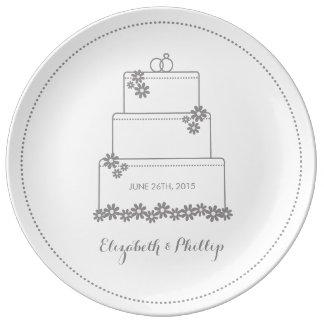 Wedding Cake Decorative Gift Plate - White Porcelain Plate