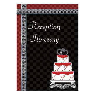 Wedding Cake Hearts Topper Checkerboard Large Business Card