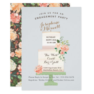 Wedding Cake Names Watercolor Floral Engagement Card