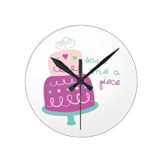 Wedding Cake Save Me A Piece Round Clock