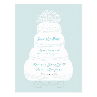 Wedding Cake Save the Date Card Postcard